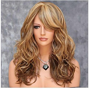 cheap Synthetic Trendy Wigs-Synthetic Wig Curly Asymmetrical Wig Long Brown Synthetic Hair 24 inch Women's Highlighted / Balayage Hair curling Fluffy Brown