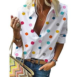 cheap Necklaces-Women's Plus Size Blouse Polka Dot Print Long Sleeve Tops Casual Shirt Collar White Blue Gray