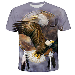 cheap Cycling Jerseys-Men's T-shirt Graphic Animal Print Tops Street chic Exaggerated Round Neck Rainbow / Short Sleeve