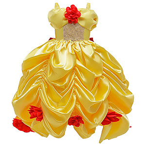 cheap Movie & TV Theme Costumes-Princess Belle Dress Flower Girl Dress Girls' Movie Cosplay A-Line Slip Yellow Dress Carnival Children's Day Masquerade Polyester