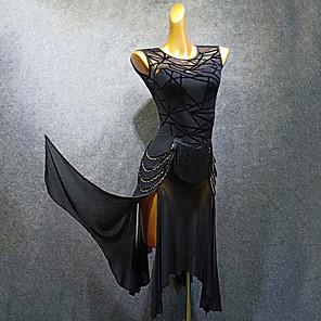 cheap Ballroom Dancewear-Latin Dance Dress Tassel Split Joint Women's Training Performance Sleeveless Mesh Flocking