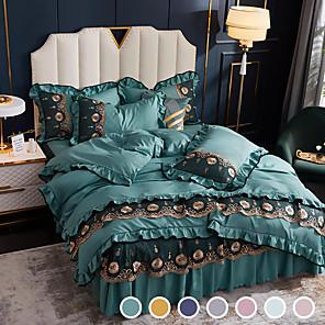 cheap Solid Duvet Covers-Ice Silk Bed skirt four-piece Silk Slip Nude sleeping tencel summer quilt wash silk bedspread