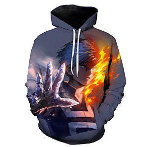 cheap Everyday Cosplay Anime Hoodies & T-Shirts-Inspired by My Hero Academia Boko No Hero Cosplay Costume Hoodie Terylene Print Printing Hoodie For Men's / Women's