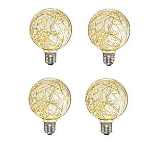 cheap LED Solar Lights-4pcs Creative Edison Light Bulb Vintage Decoration G95 LED Filament lamp Copper Wire String E27 110V 220V Replace Incandescent Bulbs