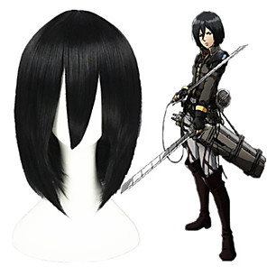 cheap Synthetic Trendy Wigs-Cosplay Costume Wig Cosplay Wig Mikasa Ackermann Shingeki No Kyojin Straight Cosplay With Bangs Wig Short Black Synthetic Hair 14 inch Men's Anime Fashionable Design Cosplay Black