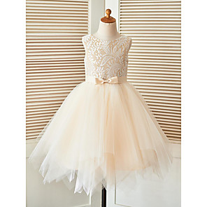 cheap Synthetic Lace Wigs-A-Line Knee Length Pageant Flower Girl Dresses - Lace / Tulle Sleeveless Scoop Neck with Sash / Ribbon