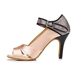 povoljno Obuća za dvoranski ples i moderne plesove-Žene Plesne cipele Cipele za latino plesove Štikle Kubanska potpetica Nude / purpurna boja / Seksi blagdanski kostimi