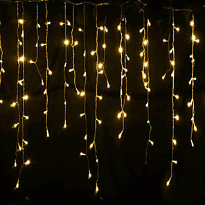cheap LED String Lights-4m*0.6m Curtain String Lights 144 LEDs With 8-Mode Memory Controller Warm White Waterproof Engineering Outdoor Decorative Garden Decoration Lamp 220-240 V 1 set