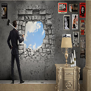 cheap Wallpaper-Custom Self Adhesive Mural Wall Hole Sky Suitable for Background Wall Restaurant Bedroom Hotel Wall Decoration Art