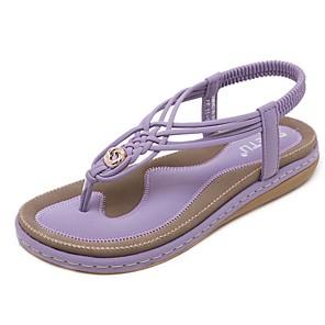 cheap Women's Sandals-Women's Sandals Summer Flat Heel Open Toe Daily PU Black / Purple / Blue