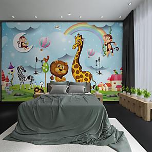 billige Tapet-tilpasset selvklebende veggmaleri tegneserie dyr giraff egnet for bakgrunnsvegg kaffebar hotell veggdekorasjon kunst hjem dekorasjon