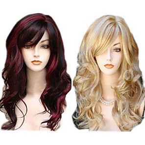 cheap Synthetic Trendy Wigs-Synthetic Wig Wavy Wavy With Bangs Wig Long Red Blonde Synthetic Hair Women's Highlighted / Balayage Hair Side Part Red