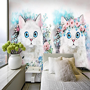 cheap Wallpaper-Custom Self-adhesive Mural Flower Cat Suitable for Background Wall Restaurant Bedroom Hotel Wall Decoration Art Home Decoration