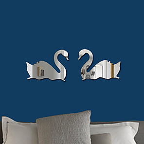 cheap Wall Stickers-2pcs Swan Acrylic 3D Mirror Wall Stickers Decorative Red Black Golden Blue Silvery