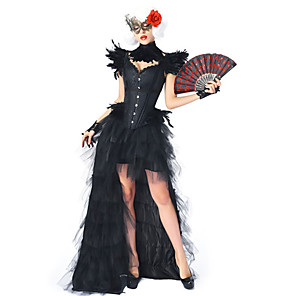 cheap Movie & TV Theme Costumes-Plague Doctor Medieval Steampunk Wasp-Waisted Dress Outfits Overbust Corset Women's Costume Black Vintage Cosplay Party Prom / Shawl / Bracelet / Necklace / Eye Mask
