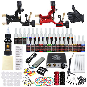 cheap Professional Tattoo Kits-DRAGONHAWK Tattoo Machine Starter Kit - 2 pcs Tattoo Machines with 1 x 30 ml / 28 x 5 ml tattoo inks, Professional Level, All in One, Easy to Install Alloy Mini power supply Case Not Included