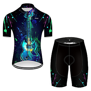 cheap Cycling Jersey & Shorts / Pants Sets-21Grams Men's Short Sleeve Cycling Jersey with Shorts Nylon Polyester Black / Blue 3D Patchwork Gradient Bike Clothing Suit Breathable 3D Pad Quick Dry Ultraviolet Resistant Reflective Strips Sports