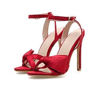 cheap Women's Sandals-Women's Sandals Summer Stiletto Heel Open Toe Daily Suede Black / Red