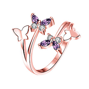 cheap Necklaces-Women's Ring 1pc Rose Gold Gold Plated Imitation Diamond Round Stylish Gift Festival Jewelry Classic Flower Environmental