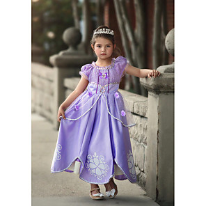cheap Movie & TV Theme Costumes-Sofia Dress Cosplay Costume Flower Girl Dress Kids Girls' A-Line Slip Cartoon Cute Christmas Halloween Children's Day Festival / Holiday Light Purple / Purple (With Accessories) Carnival Costumes