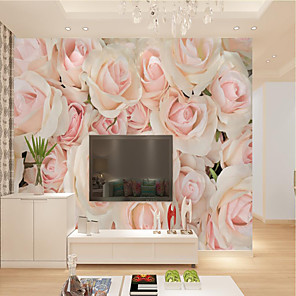 cheap Wallpaper-Custom Self-adhesive Mural Rose Picture Suitable for Background Wall Restaurant Bedroom Hotel Wall Decoration Art  Home Decoration