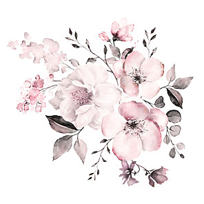 cheap Wall Stickers-Watercolor Pink Floral / Botanical Wall Stickers Plane Wall Stickers Decorative Wall Stickers PVC Home Decoration Wall Decal Wall Decoration 2pcs