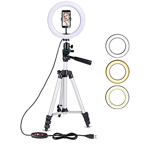 cheap Ring light-10IN LED Ring Light with Stand LED Camera Selfie Light Ring for iPhone Tripod and Phone Holder for Video Photography
