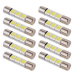 cheap Car Organizers-10pcs C5W T6 Car Led Bulbs 28MM 31MM Car Interior Festoon Dome Reading Light Source White ice bule Side License plate Lamp 12V