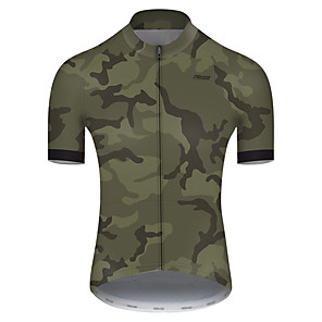 cheap Cycling Jerseys-21Grams Men's Short Sleeve Cycling Jersey Nylon Polyester Camouflage Patchwork Camo / Camouflage Bike Jersey Top Mountain Bike MTB Road Bike Cycling Breathable Quick Dry Ultraviolet Resistant Sports