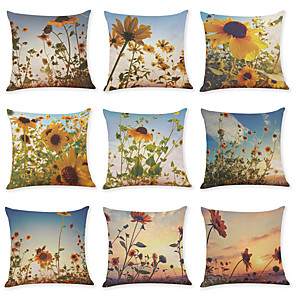 cheap Throw Pillow Covers-9 pcs Linen Pillow Cover, Sunflower Casual Modern Square Traditional Classic
