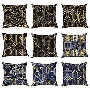 cheap Throw Pillow Covers-9 pcs Linen Pillow Cover, Geometric Classic Casual Modern Square