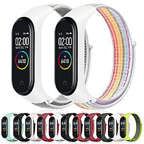 Недорогие Smartwatch Bands-замена дышащего ремешка красочный нейлоновый ремешок для браслета браслета xiaomi mi band 4