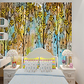 cheap Wallpaper-Home Decoration Custom Self-adhesive Mural Wallpaper Yellow Leaf Forest Children Cartoon Style Suitable For Bedroom