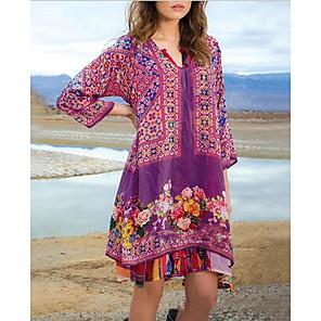 cheap Softshell, Fleece & Hiking Jackets-Women's A-Line Dress Knee Length Dress - 3/4 Length Sleeve Print Color Block Summer V Neck Casual Mumu 2020 Blue Purple Red Green Gray S M L XL XXL XXXL XXXXL XXXXXL