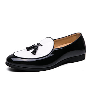 cheap Men's Slip-ons & Loafers-Men's Summer / Fall Classic / Casual Daily Office & Career Loafers & Slip-Ons Faux Leather Non-slipping Wear Proof Black and White Color Block / Tassel