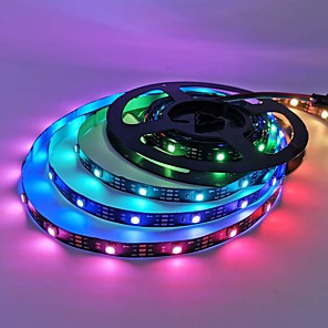 cheap LED Strip Lights-5m Flexible LED Light Strips 150 LEDs 5050 SMD 10mm 1 set RGB Christmas New Year's Party Decorative Suitable for Vehicles 5 V / Self-adhesive