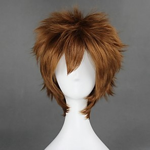 cheap Synthetic Trendy Wigs-Cosplay Costume Wig Cosplay Wig Sabaku No Gaara Naruto Curly Cosplay Halloween With Bangs Wig Short Brown Synthetic Hair 12 inch Men's Cosplay Easy to Carry Brown