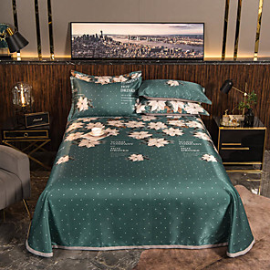 cheap Solid Duvet Covers-Summer Mat - 3-Piece Set / 1 Bed Sheet and 2 Pillowcases / Ultra Silky Soft Polyester / Modern Floral Printed / Dark Green