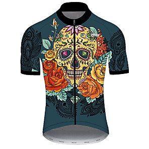 cheap Cycling Jerseys-21Grams Men's Short Sleeve Cycling Jersey Nylon Polyester Black / Orange Skull Floral Botanical Bike Jersey Top Mountain Bike MTB Road Bike Cycling Breathable Quick Dry Ultraviolet Resistant Sports