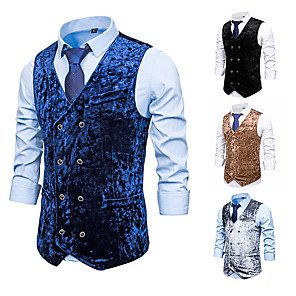 cheap Historical & Vintage Costumes-Plague Doctor Vintage Gothic Steampunk Masquerade Vest Waistcoat Men's Jacquard Costume Black / Navy Blue / Gray Vintage Cosplay Event / Party Sleeveless