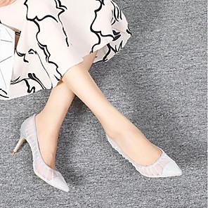 cheap Women's Heels-Women's Heels Summer Stiletto Heel Pointed Toe Daily Mesh Silver
