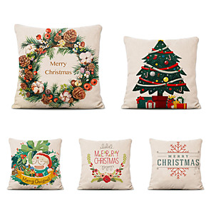 cheap Throw Pillow Covers-Set of 5 Linen Cotton Pillow Cover Holiday Christmas Modern Christmas Throw Pillow