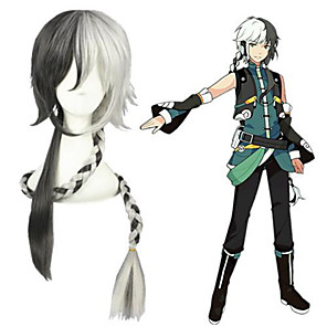 cheap Costume Wigs-Cosplay Wig Yuezheng Longya Vocaloid Straight Cosplay With Bangs Wig Very Long Silver grey Synthetic Hair 43 inch Men's Anime Cosplay Cool Gray