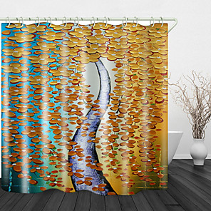 cheap Shower Curtains-Oil Painting Cash cow Digital Print Waterproof Fabric Shower Curtain for Bathroom Home Decor Covered Bathtub Curtains Liner Includes with Hooks