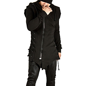 cheap Historical & Vintage Costumes-Plague Doctor Vintage Gothic Masquerade Hoodie Men's Costume Black Vintage Cosplay Event / Party Long Sleeve
