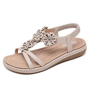 cheap Women's Sandals-Women's Sandals Summer Flat Heel Open Toe Daily PU Black / Red / Beige