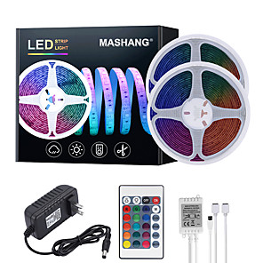 cheap LED Strip Lights-MASHANG 32.8ft 10M LED Strip Lights RGB Tiktok Lights Waterproof 600LEDs SMD 2835 with 24 Keys IR Remote Controller and 100-240V Adapter for Home Bedroom Kitchen TV Back Lights DIY Deco
