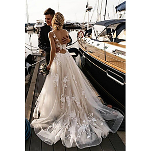 cheap Necklaces-A-Line Wedding Dresses V Neck Court Train Tulle Spaghetti Strap Backless with Appliques 2020