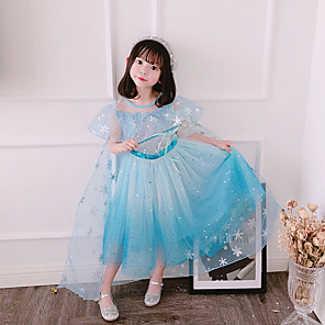 cheap Movie & TV Theme Costumes-Fairytale Frozen Dress Girls' Movie Cosplay Cosplay European Pink / Blue Dress Children's Day Polyester Cotton