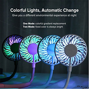 cheap Fans-Mini Portable Hanging Neckband Fan USB Rechargeable Double Fans Air Cooler Conditioner Colorful Aroma Electric Desk Fan For Room